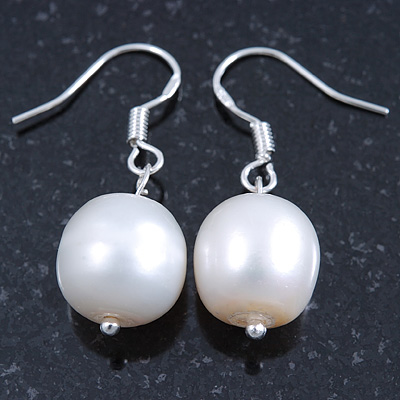 11mm Bridal/ Prom Off Round White Freshwater Pearl Drop Earrings 925 Sterling Silver - 30mm L