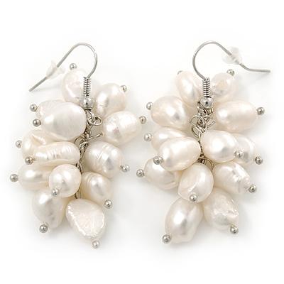 White Freshwater Pearl Grape Drop Earrings In Silver Tone - 45mm L