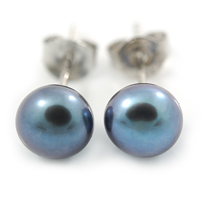 7mm Peacock Off-Round Cultured Freshwater Pearl Stud Earrings 925 Sterling Silver