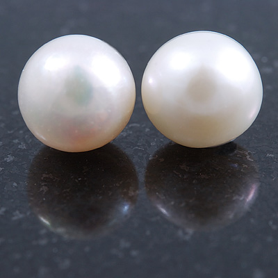 10mm White Off-Round Cultured Freshwater Pearl Stud Earrings In Silver Tone