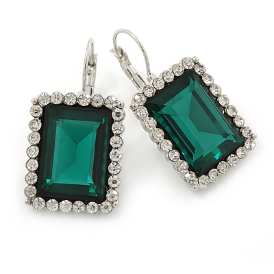 Emerald Green/ Clear CZ Square Drop Earrings With Leverback Closure In Rhodium Plating - 35mm L