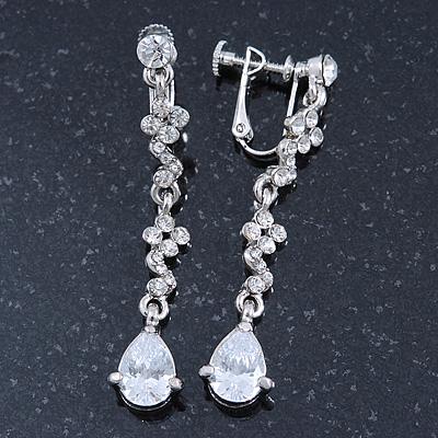 Bridal/ Wedding/ Prom Clear Cz Linear Clip On Earrings In Rhodium Plating - 53mm L