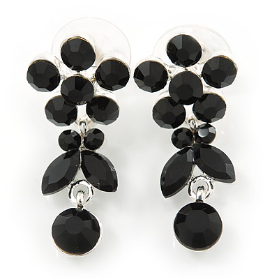 Delicate Black Crystal Flower & Butterfly Drop Earrings In Rhodium Plating - 35mm L - main view