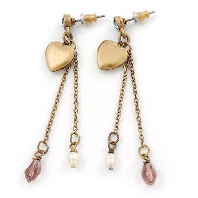 Vintage Inspired Heart Locket Chain Drop Earrings In Antique Gold Tone - 60mm L