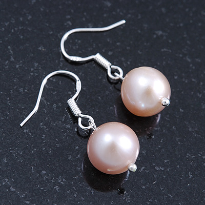10mm Bridal/ Prom Off Round Cream Freshwater Pearl Drop Earrings 925 Sterling Silver - 30mm L