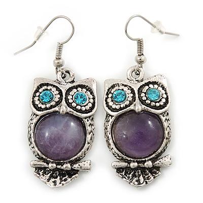 Vintage Inspired Amethyst Stone Owl Drop Earrings In Antique Silver Tone - 50mm L