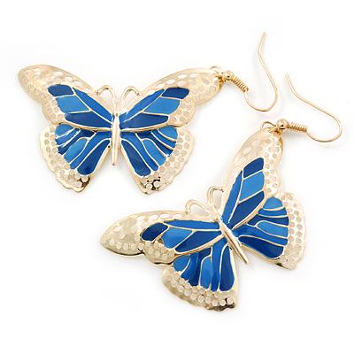Lightweight Blue Enamel Butterfly Drop Earrings In Gold Tone - 60mm L