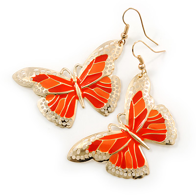 Lightweight Orange Enamel Butterfly Drop Earrings In Gold Tone - 60mm L