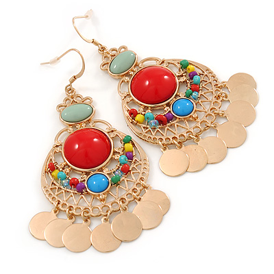 Multicoloured Acrylic Bead Chandelier Earrings In Gold Plating - 80mm L - main view