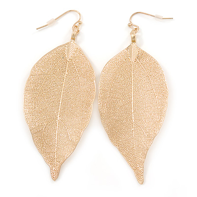 Gold Plated Filigree Leaf Drop Earrings - 85mm L