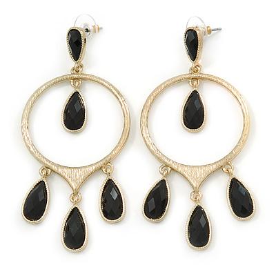 Gold Tone Hoop Earrings With Black Acrylic Bead Dangles - 80mm L