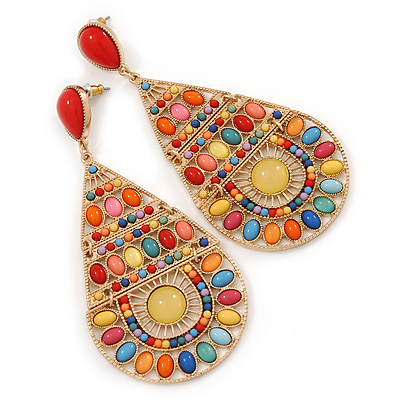 Oversized Multicoloured Acrylic Bead Teardrop Earrings In Gold Tone - 90mm L - main view