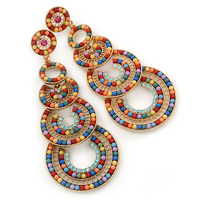 Multicoloured Acrylic Bead, Crystal Graduated Circle Chandelier Earrings - 10cm L - main view