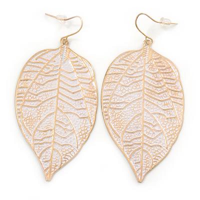 White Enamel Etched Leaf Drop Earrings In Gold Tone - 75mm L