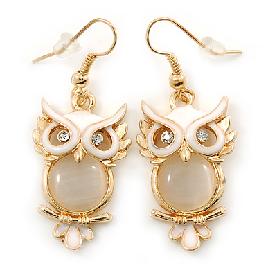 Gold Tone White Enamel, Cat's Eye Stone Owl Drop Earrings - 45mm L