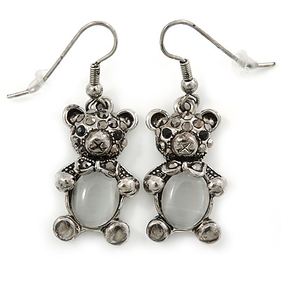 Marcasite Hematite Crystal Bear Drop Earrings In Antique Silver Tone - 40mm L