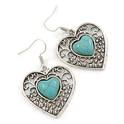 Vintage Inspired Turquoise Stone Filigree Heart Drop Earrings In Antique Silver Tone - 45mm L