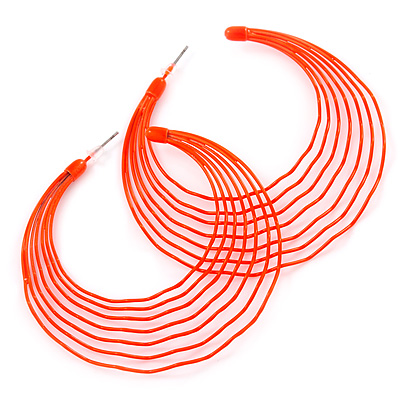 Neon Orange Multi Layered Hoop Earrings - 60mm Diameter