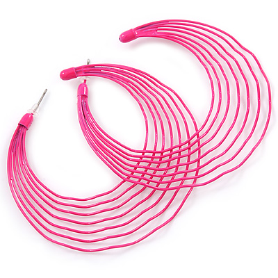 Neon Pink Multi Layered Hoop Earrings - 60mm Diameter