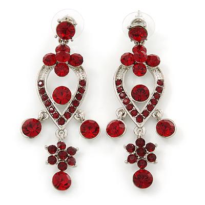 Ruby Red Austrian Crystal Chandelier Earrings In Rhodium Plating - 60mm L
