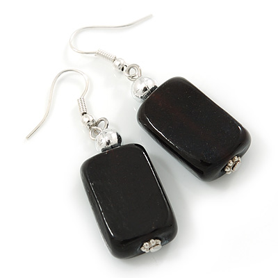 Black Glass Square Drop Earrings In Silver Tone - 45mm L