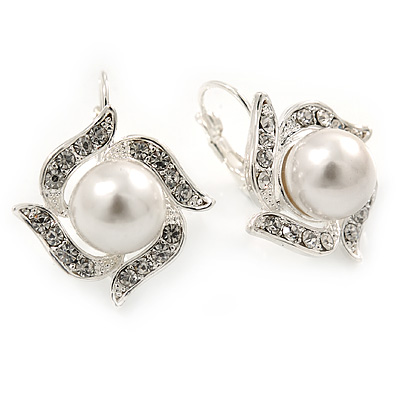 Clear Simulated Pearl Floral Drop Earrings With Leverback Closure In Silver Tone - 25mm L