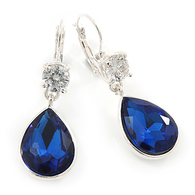 Navy Blue/ Clear CZ, Glass Teardrop Earrings With Leverback Closure In Silver Tone - 45mm L
