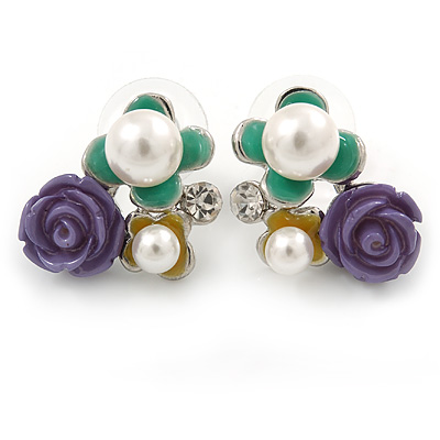 Purple, Teal Yellow, Glass Pearl Floral Stud Earrings In Rhodium Plating - 20mm L