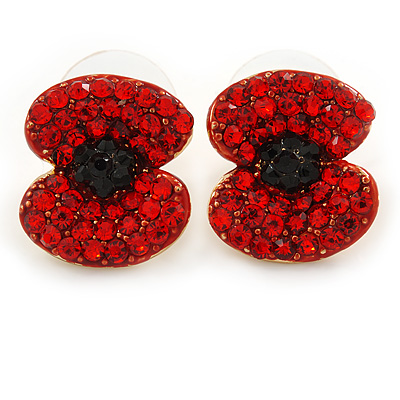 Red/ Black Austrian Crystal Poppy Flower Stud Earrings In Gold Plating - 16mm L