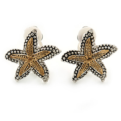 2 Tone Textured Starfish Clip-on Earrings - 20mm