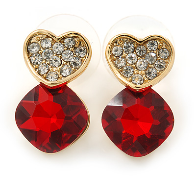 Clear/ Red Crystal Heart Stud Earrings In Gold Plating - 20mm L