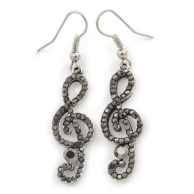 Silver Tone Hematite Crystal Treble Clef Drop Earrings - 50mm L