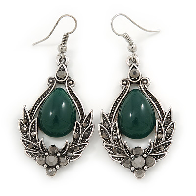 Victorian Style Green Glass, Hematite Crystal Drop Earrings In Silver Tone - 55mm L