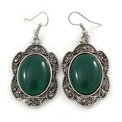 Victorian Style Green Resin Stone Oval Drop Earrings In Burnt Silver Tone - 50mm L