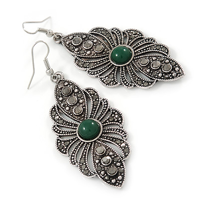 Marcasite Filigree, Hematite Crystal With Green Resin Stone Drop Earrings - 75mm L