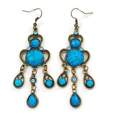 Victorian Style Blue Acrylic Bead Chandelier Earrings In Antique Gold Tone - 80mm L - main view
