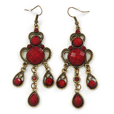 Victorian Style Dark Red/ Burgundy Acrylic Bead Chandelier Earrings In Antique Gold Tone - 80mm L