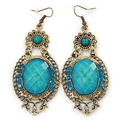 Victorian Style Light Blue  Acrylic Bead, Crystal Chandelier Earrings In Antique Gold Tone - 80mm L
