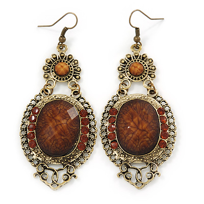 Victorian Style Brown Acrylic Bead, Crystal Chandelier Earrings In Antique Gold Tone - 80mm L
