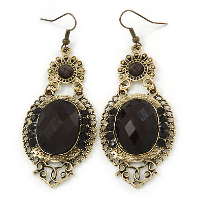 Chandelier earrings avalaya victorian style black acrylic bead crystal chandelier earrings in antique gold tone 80mm l mozeypictures Image collections