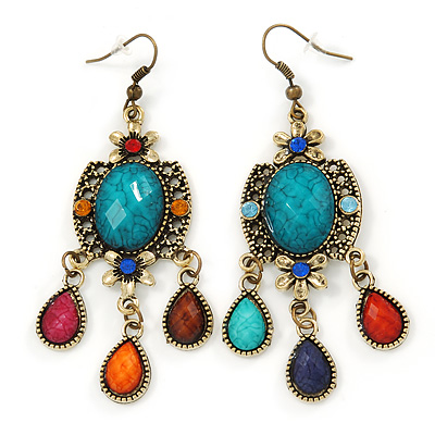Multicoloured Acrylic Bead Chandelier Earrings In Antique Gold Tone - 75mm L