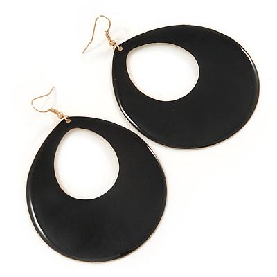 Large Black Enamel Oval Hoop Earrings In Gold Tone - 85mm L