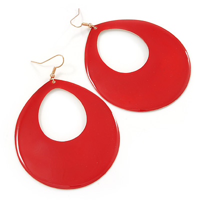 Large Red Enamel Oval Hoop Earrings In Gold Tone - 85mm L