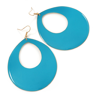 Large Teal Enamel Oval Hoop Earrings In Gold Tone - 85mm L