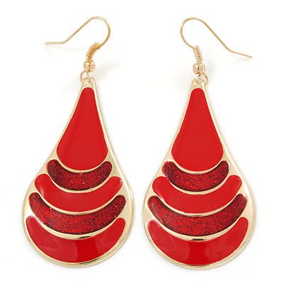 Red Enamel With Glitter Teardrop Earrings In Gold Tone - 65mm L - main view