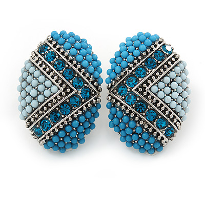 Boho Style Blue/ Teal/ Light Blue Beaded Oval Stud Earrings In Silver Tone - 25mm L - main view
