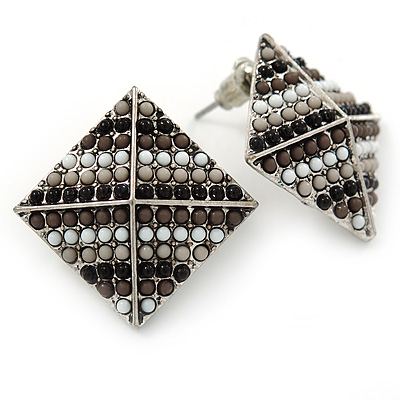 Boho Style Black/ Grey/ White Beaded Square Stud Earrings In Silver Tone - 25mm - main view