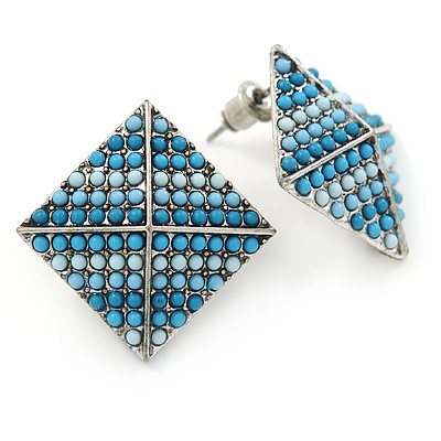 Boho Style Blue/ Light Blue/ Pale Blue Beaded Square Stud Earrings In Silver Tone - 25mm - main view