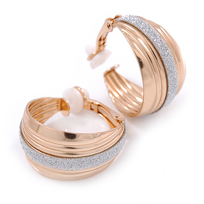 Small Gold Tone Hoop Clip On Earrings With Silver Glitter - 23mm