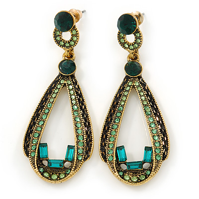 Emerald and Light Green Crystal Loop Drop Earrings In Gold Tone - 60mm L